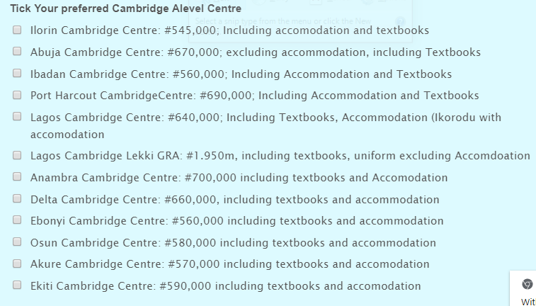 Cambridge A Level school fees in Nigeria